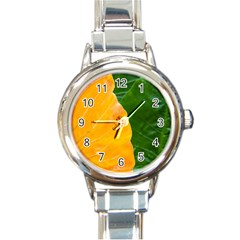 Wet Yellow And Green Leaves Abstract Pattern Round Italian Charm Watch