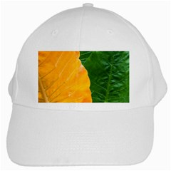 Wet Yellow And Green Leaves Abstract Pattern White Cap