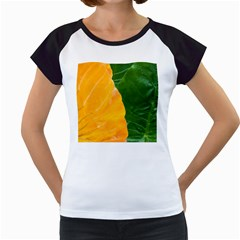Wet Yellow And Green Leaves Abstract Pattern Women s Cap Sleeve T