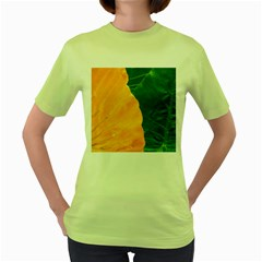 Wet Yellow And Green Leaves Abstract Pattern Women s Green T Shirt