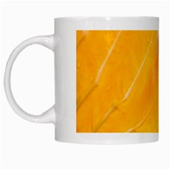 Wet Yellow And Green Leaves Abstract Pattern White Mugs