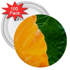 Wet Yellow And Green Leaves Abstract Pattern 3  Buttons (100 pack)