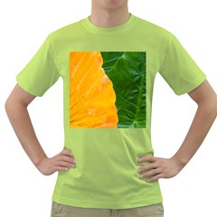 Wet Yellow And Green Leaves Abstract Pattern Green T Shirt