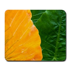 Wet Yellow And Green Leaves Abstract Pattern Large Mousepads