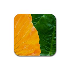 Wet Yellow And Green Leaves Abstract Pattern Rubber Square Coaster (4 pack)