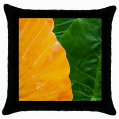 Wet Yellow And Green Leaves Abstract Pattern Throw Pillow Case (black)
