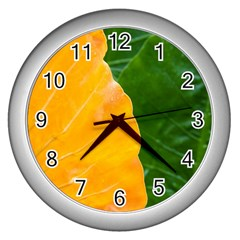 Wet Yellow And Green Leaves Abstract Pattern Wall Clocks (silver)
