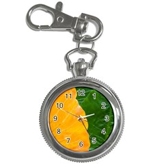 Wet Yellow And Green Leaves Abstract Pattern Key Chain Watches
