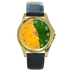 Wet Yellow And Green Leaves Abstract Pattern Round Gold Metal Watch