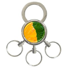 Wet Yellow And Green Leaves Abstract Pattern 3 Ring Key Chains