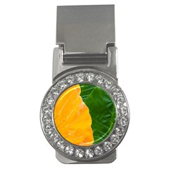 Wet Yellow And Green Leaves Abstract Pattern Money Clips (cz)