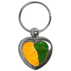 Wet Yellow And Green Leaves Abstract Pattern Key Chains (heart)