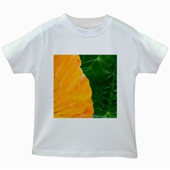 Wet Yellow And Green Leaves Abstract Pattern Kids White T Shirts