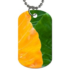 Wet Yellow And Green Leaves Abstract Pattern Dog Tag (one Side)