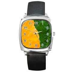 Wet Yellow And Green Leaves Abstract Pattern Square Metal Watch