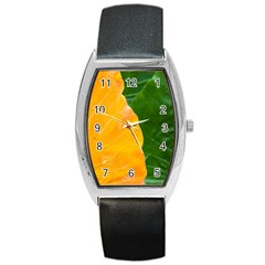 Wet Yellow And Green Leaves Abstract Pattern Barrel Style Metal Watch