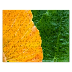 Wet Yellow And Green Leaves Abstract Pattern Rectangular Jigsaw Puzzl