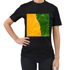 Wet Yellow And Green Leaves Abstract Pattern Women s T Shirt (black) (two Sided)