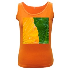 Wet Yellow And Green Leaves Abstract Pattern Women s Dark Tank Top