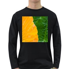 Wet Yellow And Green Leaves Abstract Pattern Long Sleeve Dark T Shirts