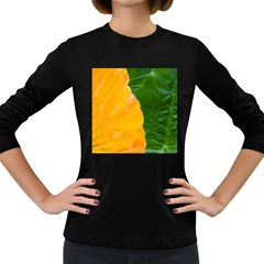 Wet Yellow And Green Leaves Abstract Pattern Women s Long Sleeve Dark T Shirts