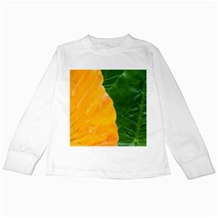 Wet Yellow And Green Leaves Abstract Pattern Kids Long Sleeve T-Shirts