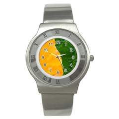 Wet Yellow And Green Leaves Abstract Pattern Stainless Steel Watch