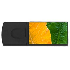 Wet Yellow And Green Leaves Abstract Pattern Usb Flash Drive Rectangular (4 Gb)