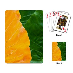 Wet Yellow And Green Leaves Abstract Pattern Playing Card