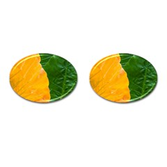 Wet Yellow And Green Leaves Abstract Pattern Cufflinks (oval)