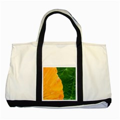 Wet Yellow And Green Leaves Abstract Pattern Two Tone Tote Bag
