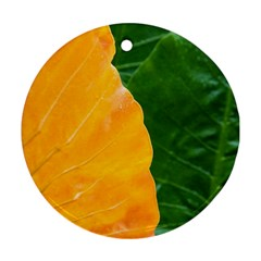Wet Yellow And Green Leaves Abstract Pattern Round Ornament (two Sides)
