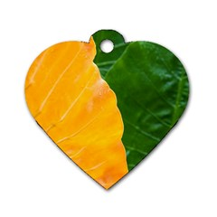 Wet Yellow And Green Leaves Abstract Pattern Dog Tag Heart (one Side)