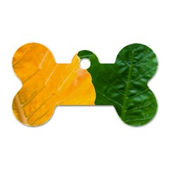 Wet Yellow And Green Leaves Abstract Pattern Dog Tag Bone (two Sides)