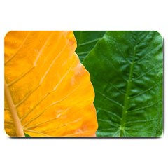 Wet Yellow And Green Leaves Abstract Pattern Large Doormat