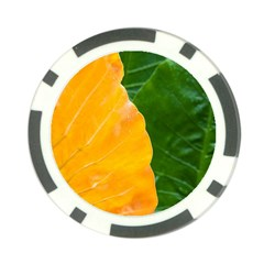 Wet Yellow And Green Leaves Abstract Pattern Poker Chip Card Guard
