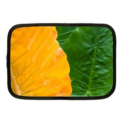 Wet Yellow And Green Leaves Abstract Pattern Netbook Case (medium)