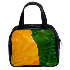 Wet Yellow And Green Leaves Abstract Pattern Classic Handbags (2 Sides)