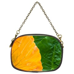 Wet Yellow And Green Leaves Abstract Pattern Chain Purses (two Sides)