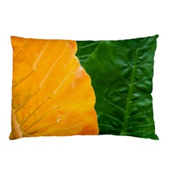 Wet Yellow And Green Leaves Abstract Pattern Pillow Case