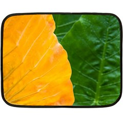 Wet Yellow And Green Leaves Abstract Pattern Double Sided Fleece Blanket (mini)