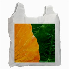 Wet Yellow And Green Leaves Abstract Pattern Recycle Bag (one Side)