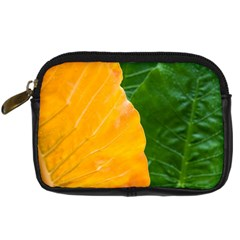 Wet Yellow And Green Leaves Abstract Pattern Digital Camera Cases