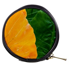 Wet Yellow And Green Leaves Abstract Pattern Mini Makeup Bags
