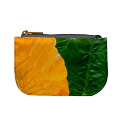 Wet Yellow And Green Leaves Abstract Pattern Mini Coin Purses
