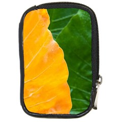Wet Yellow And Green Leaves Abstract Pattern Compact Camera Cases