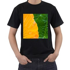 Wet Yellow And Green Leaves Abstract Pattern Men s T Shirt (black)