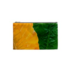 Wet Yellow And Green Leaves Abstract Pattern Cosmetic Bag (small)