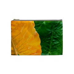 Wet Yellow And Green Leaves Abstract Pattern Cosmetic Bag (medium)