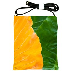 Wet Yellow And Green Leaves Abstract Pattern Shoulder Sling Bags